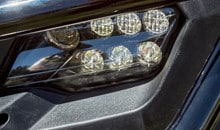 LED headlights provide excellent nighttime illumination.