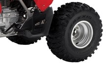 22 x 7-10 front tires and 22 x 10-9 rear tires feature an aggressive knobby tread pattern for excellent traction.
