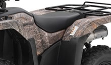Wide seat has thick padding for improved comfort.