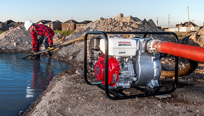Clean up with construction series pumps, able to remove water containing rocks and unwanted debris.