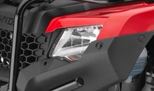 Twin-headlight system features powerful 35-watt bulbs for improved light distribution.