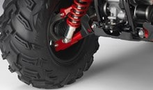 Aggressively styled Maxxis tires provide excellent comfort and traction. Plastic CV joint boots on the front driveshafts are tough and tear-resistant with sealed steering-knuckle bearings for extended durability.